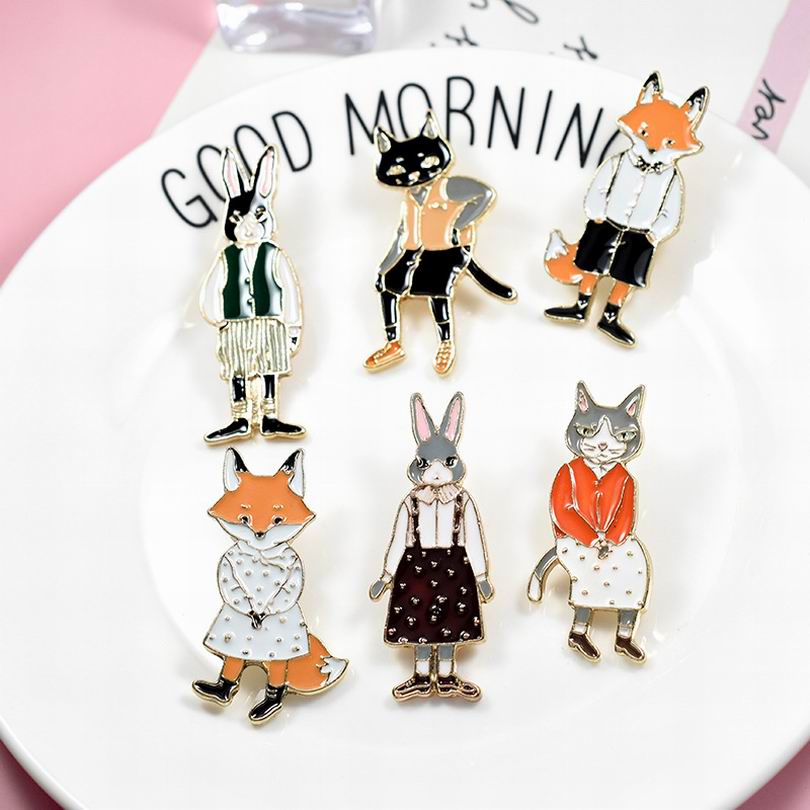 Jewelry & Accessories Dhl Free Shipping,wholesale 50pcs Pins Brooches Rabbit Fox Cat Couple Enamel Pin Badges Hat Backpack Accessories Lover Gifts Jewelry Sets & More