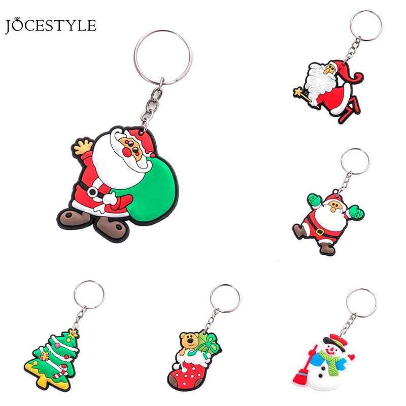 1 pc Natal Anel Chave Keychain Dos Desenhos Animados Papai Noel Boneco de Neve Chaveiro Pingente de Presente de Natal Jóias para Mulheres Dos Homens