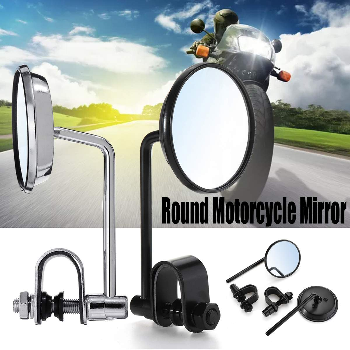 Round Motorcycle Mirror Chrome Black 22/25mm Handlebar Retro Motorcycle Mirrors Universal Motorbike Side Mirror Left & RightRound Motorcycle Mirror Chrome Black 22/25mm Handlebar Retro Motorcycle Mirrors Universal Motorbike Side Mirror Left & Right