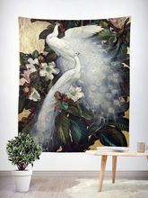 Vintage Style Wall Tapestry Hippie Bobo Hanging Home Decor Tapestries Peacock Parrot Crane Floral Painting Wallpaper Carpet