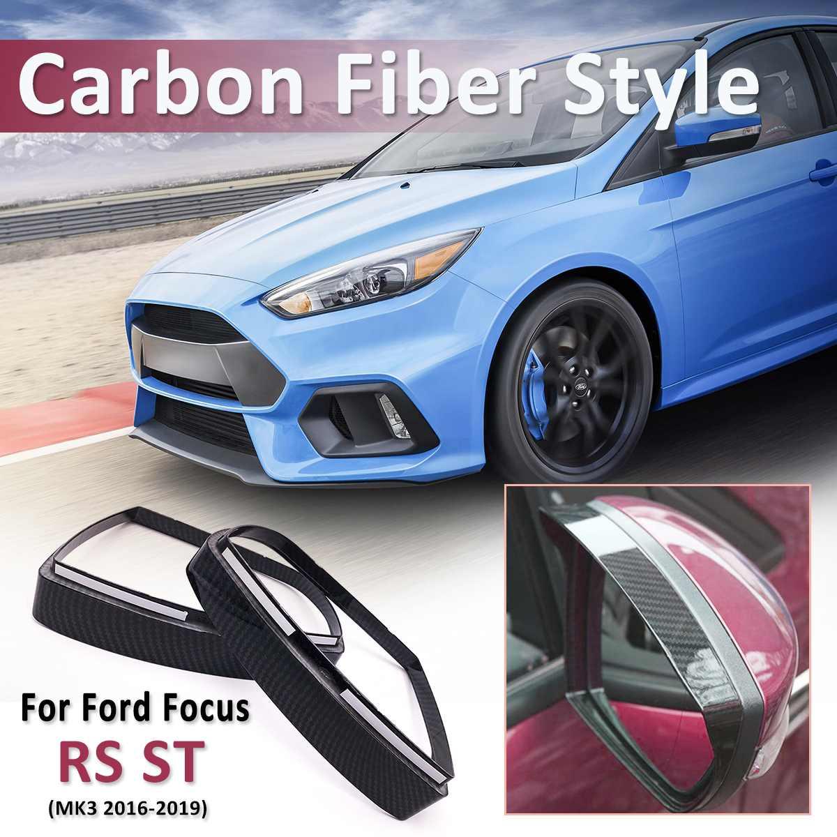 Carbon Fiber Color Side Door Mirror Cover Rainproof Visor Frame Sun Guard Sticker Trim For Ford For Focus Rs St Mk3 2012 2018