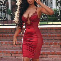 Parthea Sexy See Though Mesh Satin Dress Women 2019 Summer Balck Cut Out Lace Dress Woman Party Night Elegant Bodycon Dress Red