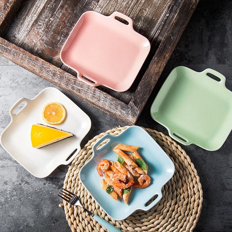 Double Handled Glazes Ceramic Dish Plate Salad Breakfast
