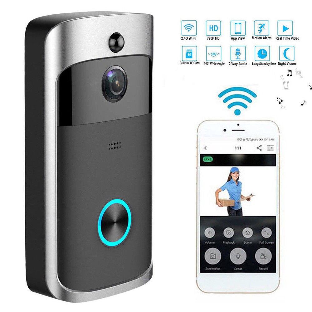 Smart Video Wireless WiFi Door Bell IR Visual Camera Record Security