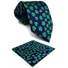 Blue Green Clover Silk Floral Mens Necktie Wedding Novelty Designer Fashion Pocket Square X-long цена