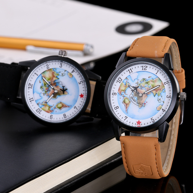 2019 New Fashion Lovers Watches Clock Women Men Unisex Leather Casual Analog Map Quartz Watch Ladies Dress Sport Wristwatches