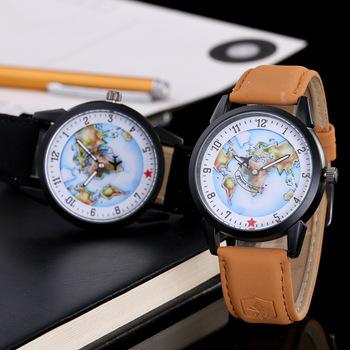 2019 New Fashion Lovers Watches Clock Women Men unisex Leather Casual Analog Map Quartz Watch Ladies Dress Sport Wristwatches casual watch geneva unisex quartz watch men women wristwatches fashion sports watches rose gold silicone watches dropship