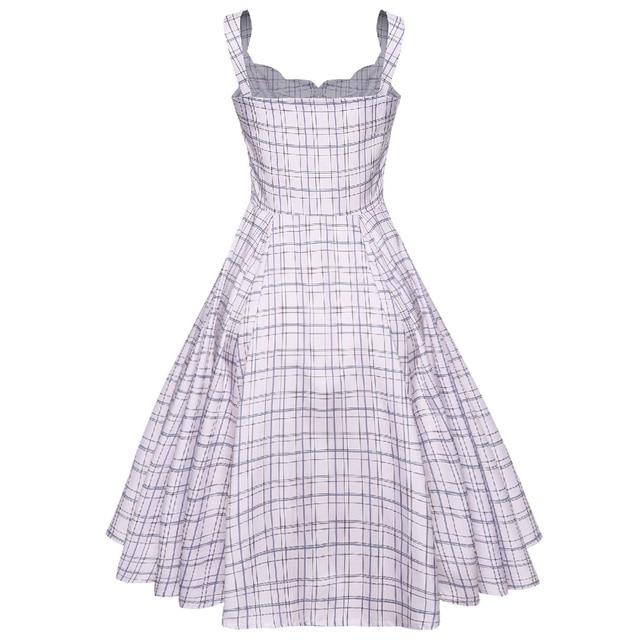 Kenancy Checks Print Retro Dress Little V Neck Sleeveless Pin Up Women Vintage Dress Summer Vestidos 60s Dress With Two Pockets