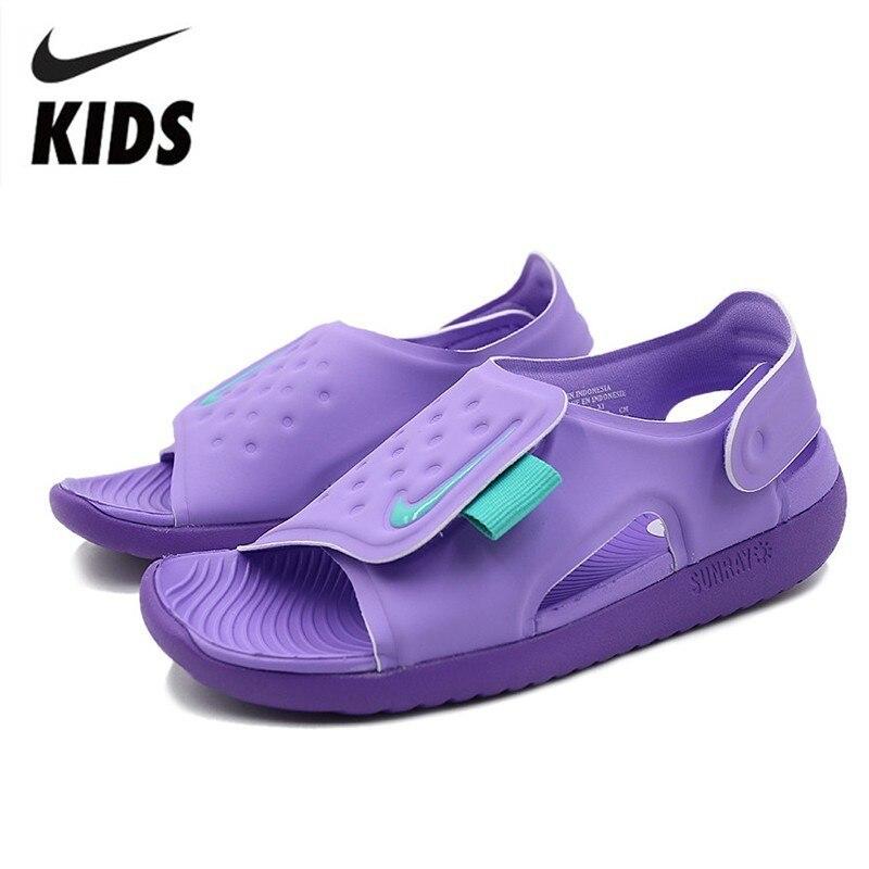 14d88bd6 NIKE SUNRAY Отрегулируйте детей Оригинал 2019 Новое поступление детские  сандалии на липучке пляжная обувь # AJ9076