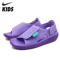 NIKE SUNRAY ADJUST Kids Original 2019 New Arrival Children Sandals Hook&Loop Beach Shoes #AJ9076 500