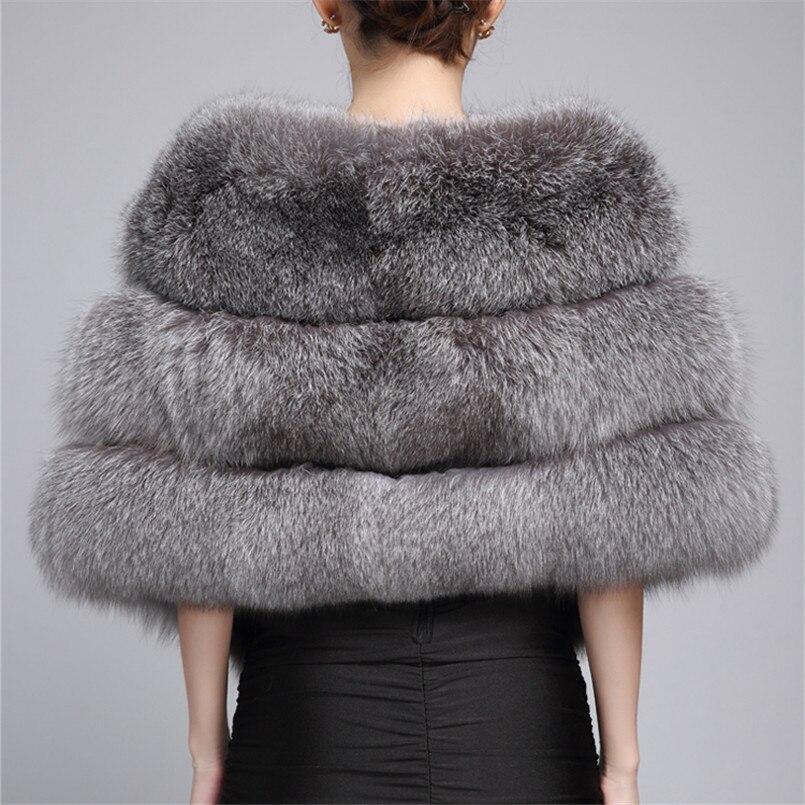 Réel argent fourrure de renard poncho et capes châle femmes écharpe hiver foulards femme marque de luxe blanc naturel fourrure étole châle C169