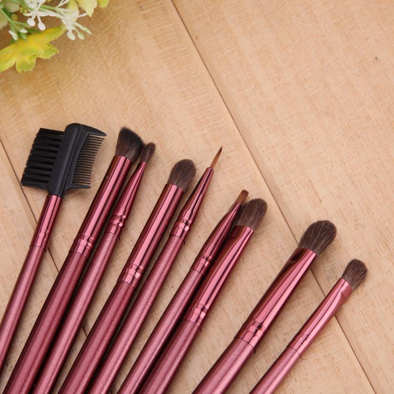 12Pcs Rose Red Makeup Brushes Set Eyeshadow Eyeliner Eyebrow Blush Foundation Brush Real Nature Wool Cosmetic Brush Tool Kit in Eye Shadow Applicator from Beauty Health