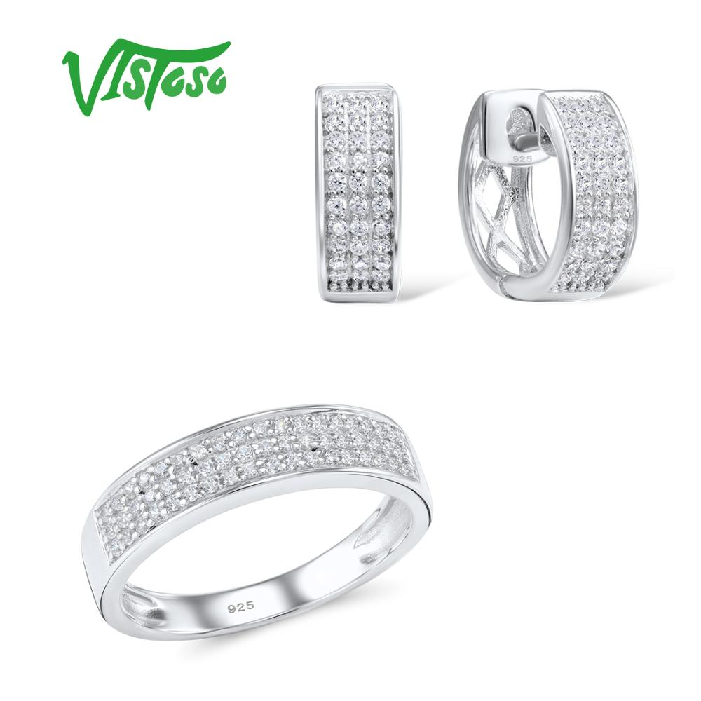 VISTOSO Jewelry Sets For Woman White Cubic Zirconia Stones Jewelry Set Earrings Ring 925 Sterling Silver