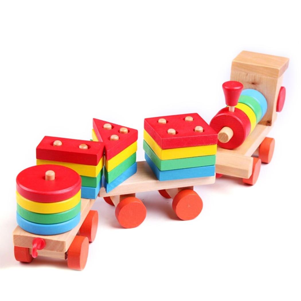 2019 Mode Diy Houten Trein Baby Stapelen Trein Blok Speelgoed Montessori Zachte Blokken Vorm Kleuraanpassing Leuk Spel Voor Chidren Onderwijs Gift Gemakkelijk Te Repareren