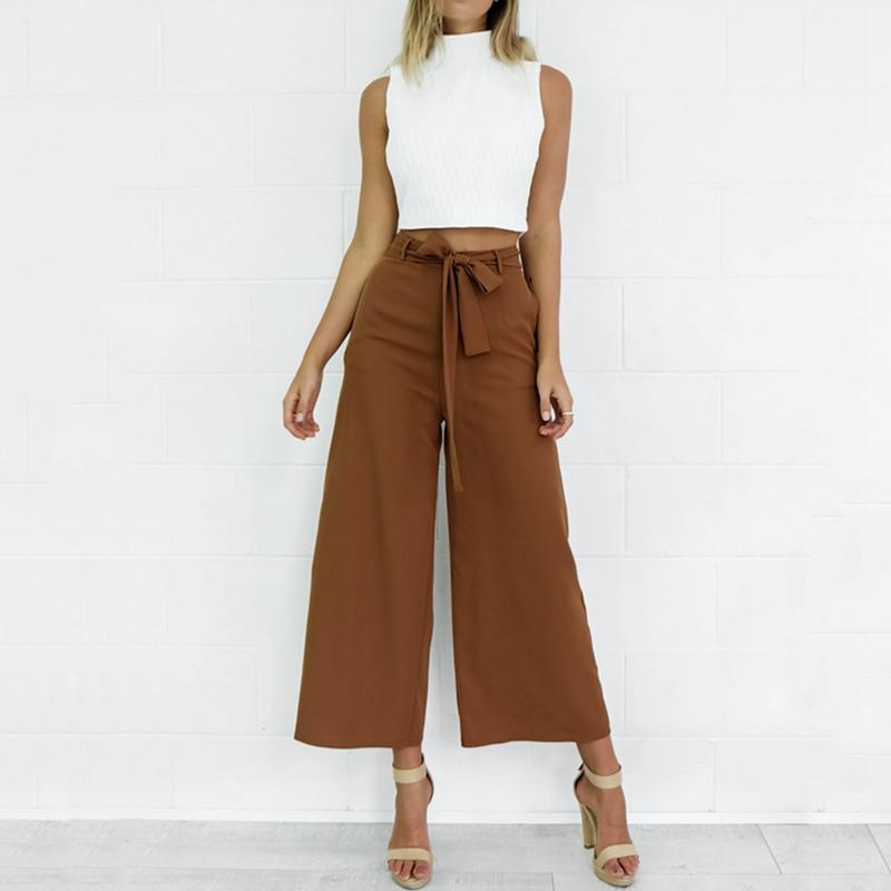 Hot sale Loose Mid Rise Large Leg Opening Sexy   Capri     Pants     Capri   Trousers