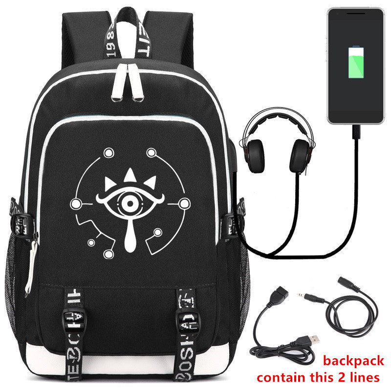 USB Schoolbag Zelda Cosplay Backpack Anime Cosplay Oxford Cloth Bag Rucksack Unisex Daily Student Satchel Halloween