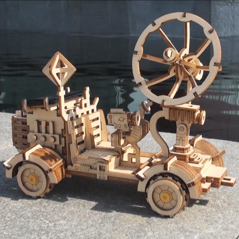 Robotime mobile lune Buggy énergie solaire jouet 3D bricolage coupe en bois modèle Kits de construction cadeau pour enfants adulte LS401
