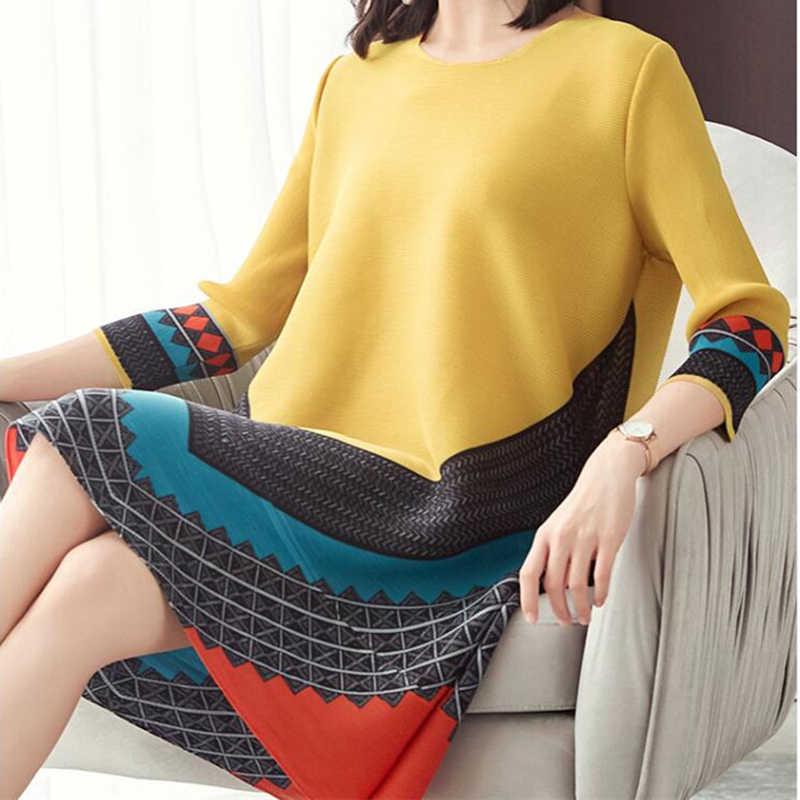 LANMREM 2019 летняя новая модная плиссированная одежда с принтом для женщин с рукавом три четверти и круглым вырезом свободные Cntrast цветные платья NA943