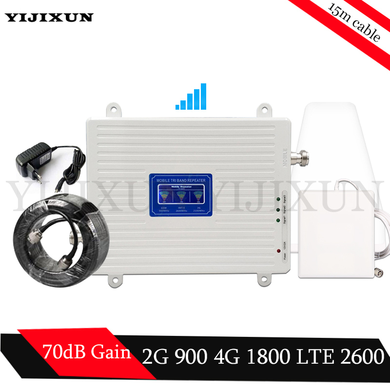 GSM 900 DCS LTE 1800 FDD LTE 2600 2G 3G 4G Triple Band Mobile Signal Repeater