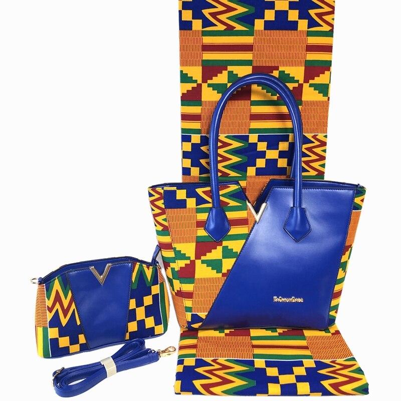 새로운 패션 수제 여성 가방 왁스 패브릭 6 야드 뜨거운 판매 인쇄 왁스 패브릭 및 핸드백 바느질 드레스-에서탑 핸드백부터 수화물 & 가방 의  그룹 1