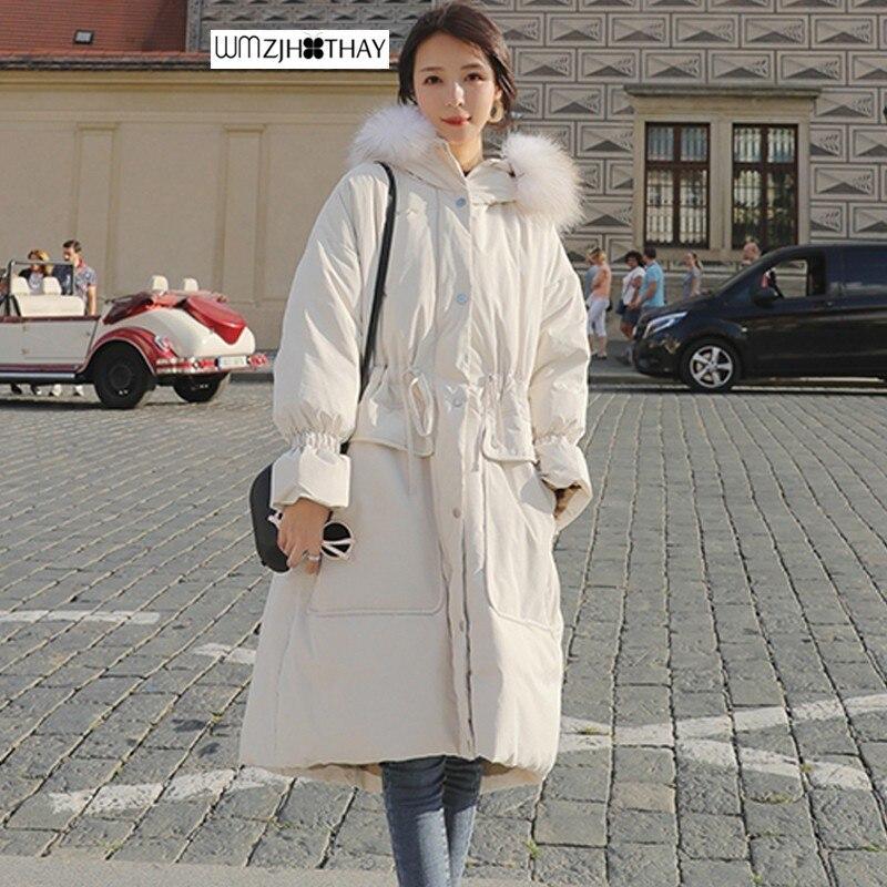 Grand col en fourrure vers le bas veste en coton hiver femmes tempérament épaissir lâche BF manteau mode chaud au genou vêtements d'extérieur à capuche MF136