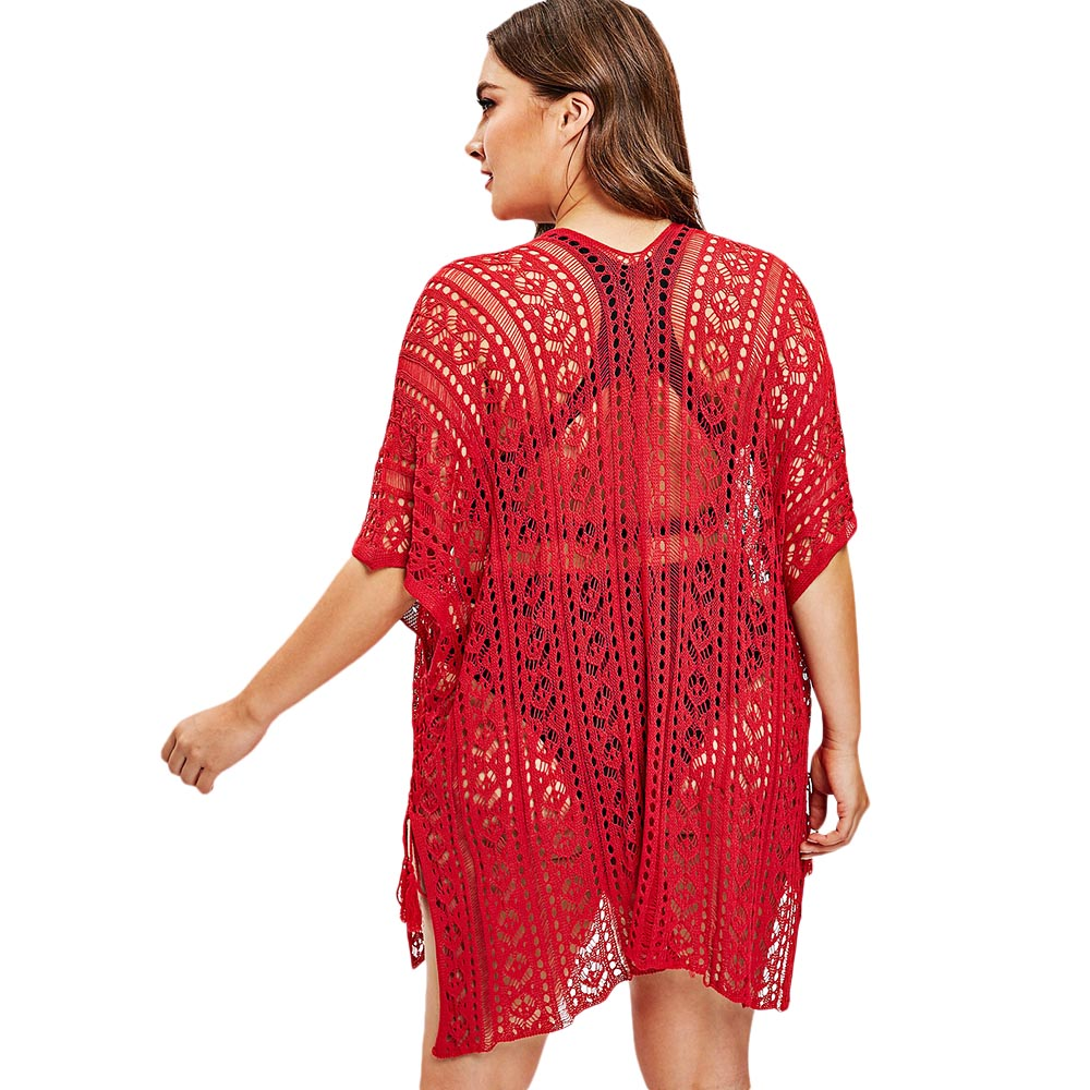 eb2db81de2 AZULINA Plus Size Cover Up Women Openwork Batwing Sleeve Beach Cover Up See  Through Beach Dress Women'S Swimming Suit Large Size