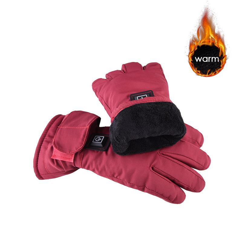 Adjustable Temperature Lithium Battery Electric Rechargeable Heated Gloves Waterproof Motorcycle  Gloves Winter Warmer For Women