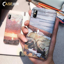 CASEIER Case For Xiaomi 8 9 Note 5 7 Sunset Painting Emboss Phone Cases A2 6A Redmi 6 Soft TPU Cover Funda Accesorios