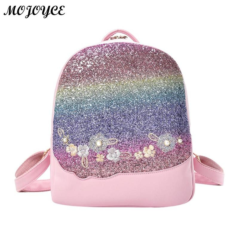 Bling Glitter Rucksack Shining Color Sequins Backpack Women Floral Pu Leather Backpacks Girls Small Travel School Bag MochilaBling Glitter Rucksack Shining Color Sequins Backpack Women Floral Pu Leather Backpacks Girls Small Travel School Bag Mochila