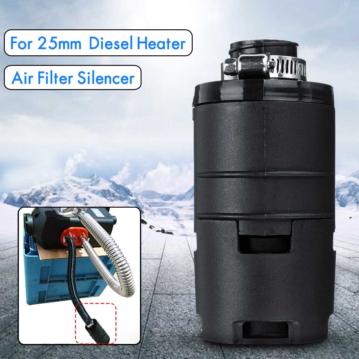 25mm Air Intake Filter Silencer For Dometic Eberspacher Webasto Diesel Heater