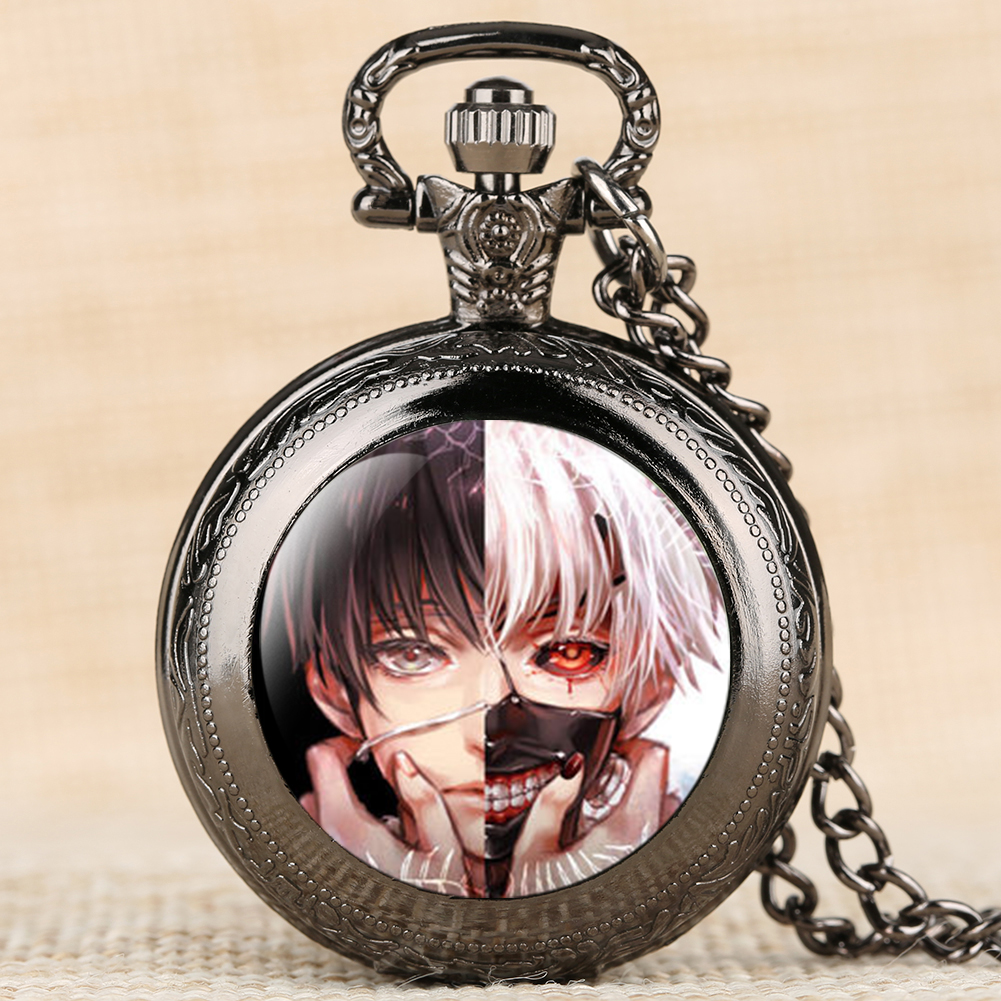 Pocket Watch Anime Theme Tokyo Ghoul Quartz Fob Watch Necklace Chain Clock Pendant Cool Souvenir For Anime Fan Dropshipping