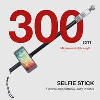 300cm Flexible Extendable Selfie Stick Stand For DJI OSMO Pocket Sports Camera Insta 360 ONE X Mobile Phones Aluminum Self Timer