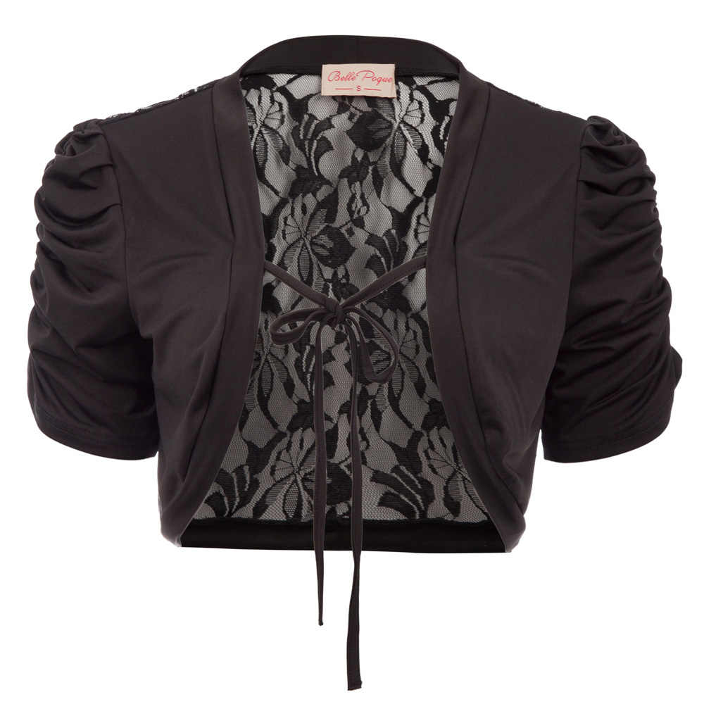 Hot Sale Women Shrugs Summer Casual See-Through Lady Tops Lace Back Tie Front Bolero