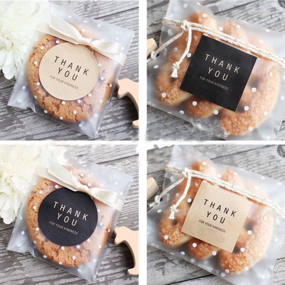 60Pcs/10 Sheets Label Thank You Round Square Black Kraft Paper Color Sealing Paste Baking Biscuit Bag Decorative Seal Sticker