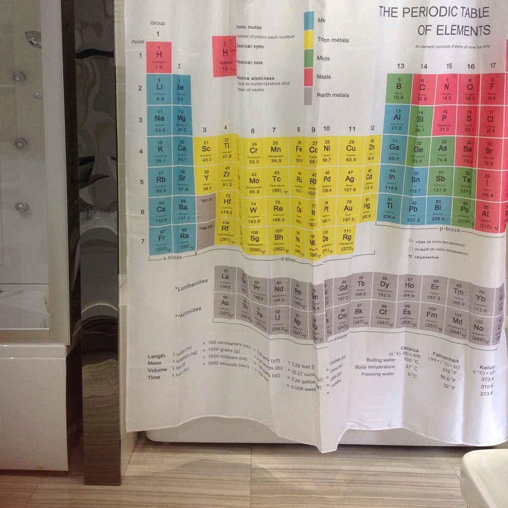 2019 chaud Cool chimique périodique tableau des éléments rideaux de douche rayure polyester 1.8m Long tissu bain pondéré rideau de douche