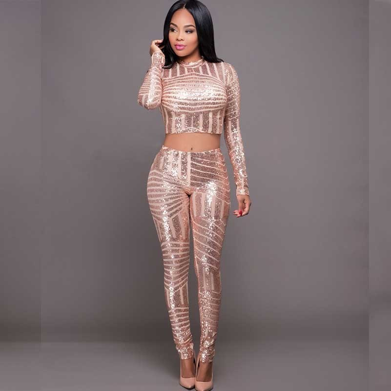 MUXU Gold Sequin Bodycon Long Sleeve Cropped Two Piece Set Top And Pants Women Suits Fashion Glitter Patchwork Streetwear
