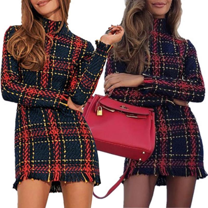 2019 Spring New Striped Woven Knit Tassels Slim dress Female Spring Dress   Hips Slim Women