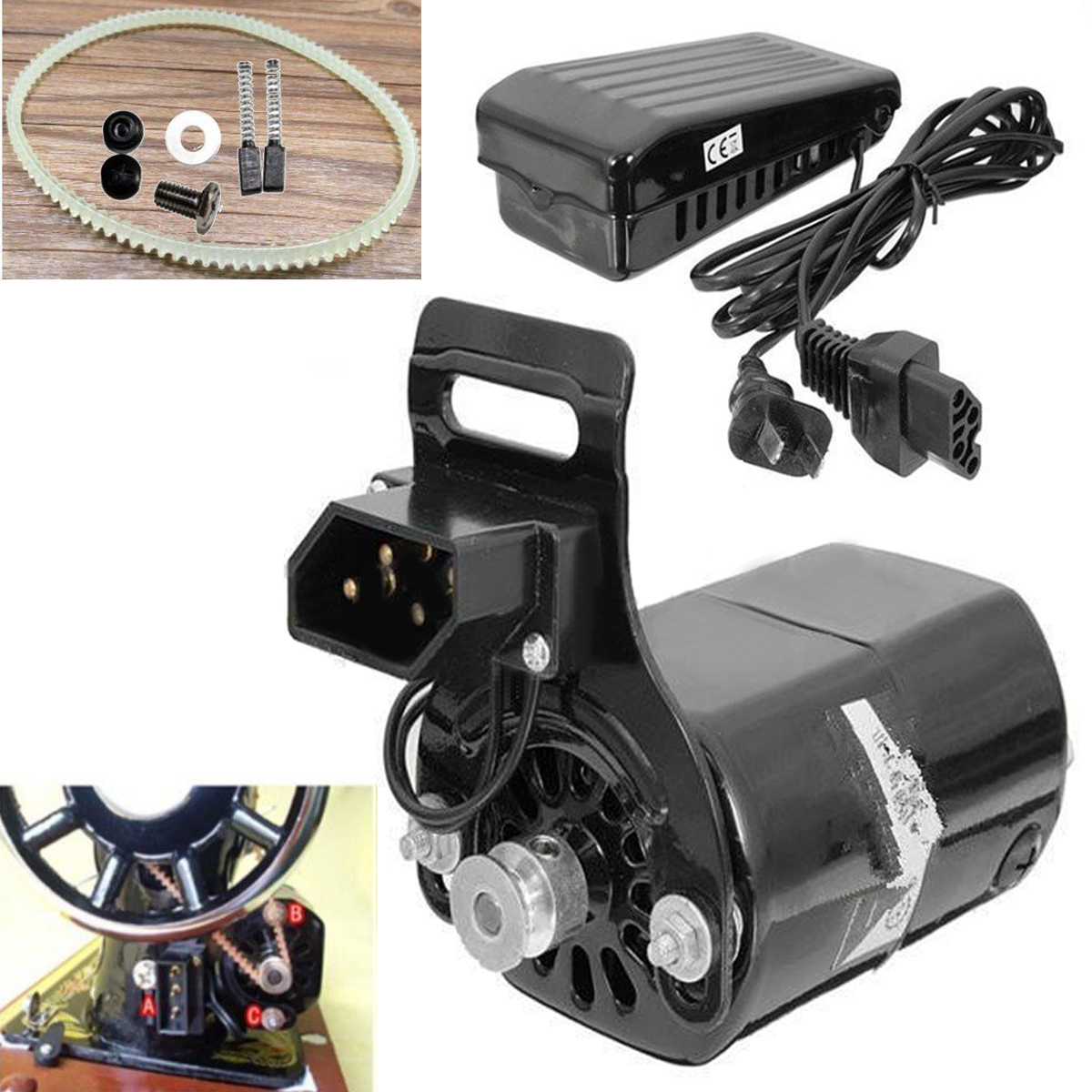 Black 220V 180W 0.9A Black Domestic Household Sewing Machine Motor + Controller