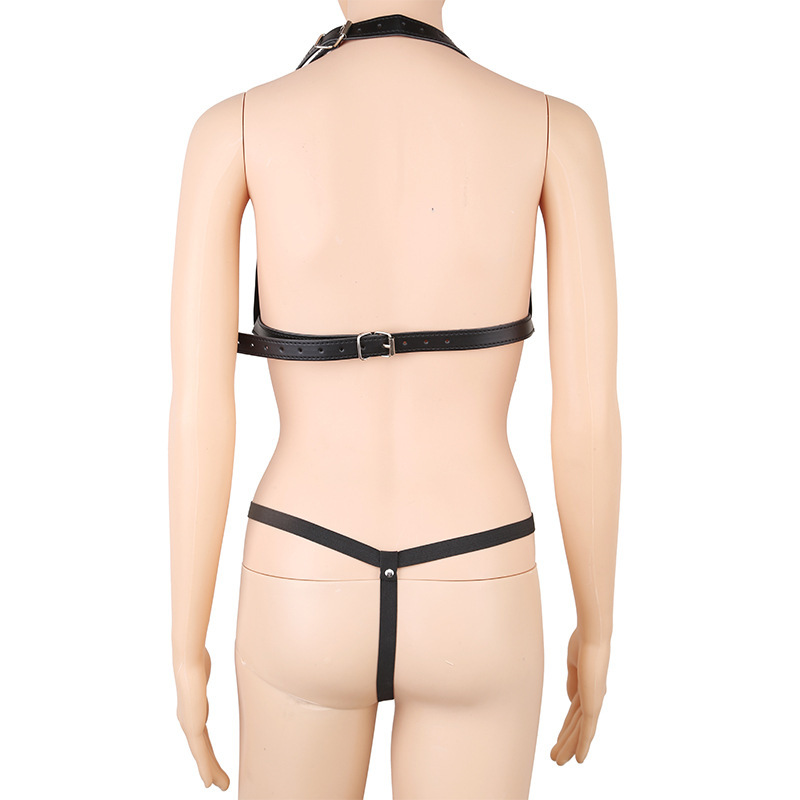 Leather Sexy Lingerie Suits Halter Bra+Thong Women Body Harnesses Bondage Clothing Fetish Dress Sex Underwear For Couples' Game