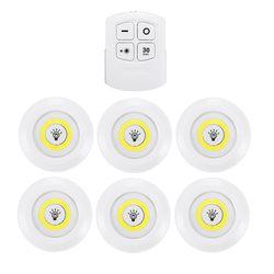 6 pçs led controle remoto sem fio luz da noite lâmpada de parede luz sob armário cozinha roupeiro do banheiro corredor escada cob