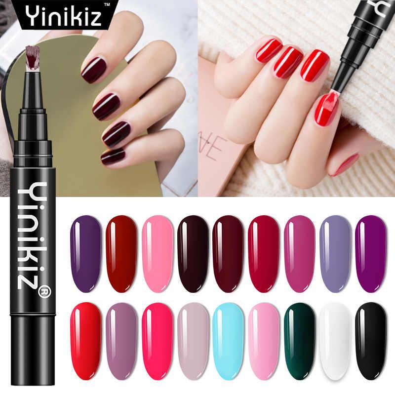 Yinikiz החדש UV ג 'ל עט לכה 3 ב 1 אחד צעד ציפורניים ג' ל פולני עט ג 'ל לכה נייל אמנות מניקור דבק