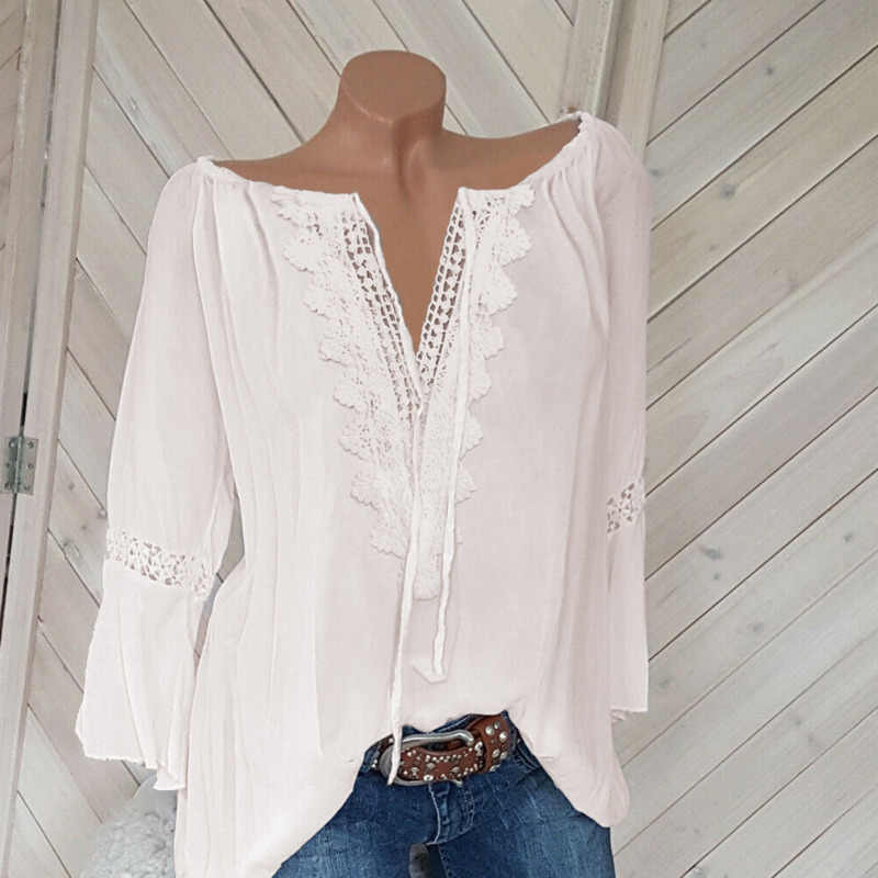 2019 White Casual Shirts For Women Lace Summer Autumn Top T-shirt Long Sleeve Shirts For Women Tshirt Blue Hollow Out Sexy Tops