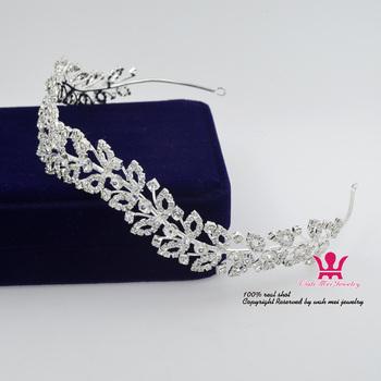 Wianek dla panny młodej tiary korony Rhinestone Crystal Garland akcesoria do włosów nakrycie głowy księżniczki ślubny kwiat ładne dziewczyny pokaż tanie i dobre opinie Miedzi CN (pochodzenie) Śliczne Romantyczny Moda 01857 Hairwear Tiaras PLANT Kobiety
