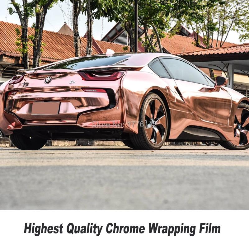 Extensible Chrome Miroir rose or Enveloppe de Vinyle Avec Bulle D'air Libre De Voiture Wrap Feuille Chrome Vert Wrap Film Taille: 1.52*20 m/Rouleau