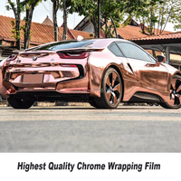 Stretchable Chrome Mirror rose gold Vinyl Wrap With Air Bubble Free Car Wrap Foil Chrome Green Wrap Film Size:1.52*20M/Roll