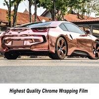Stretchable Chrome Mirror rose gold Vinyl Wrap With Air Bubble Free Car Wrap Foil Chrome Green Wrap Film Size:1.52*20M/Roll