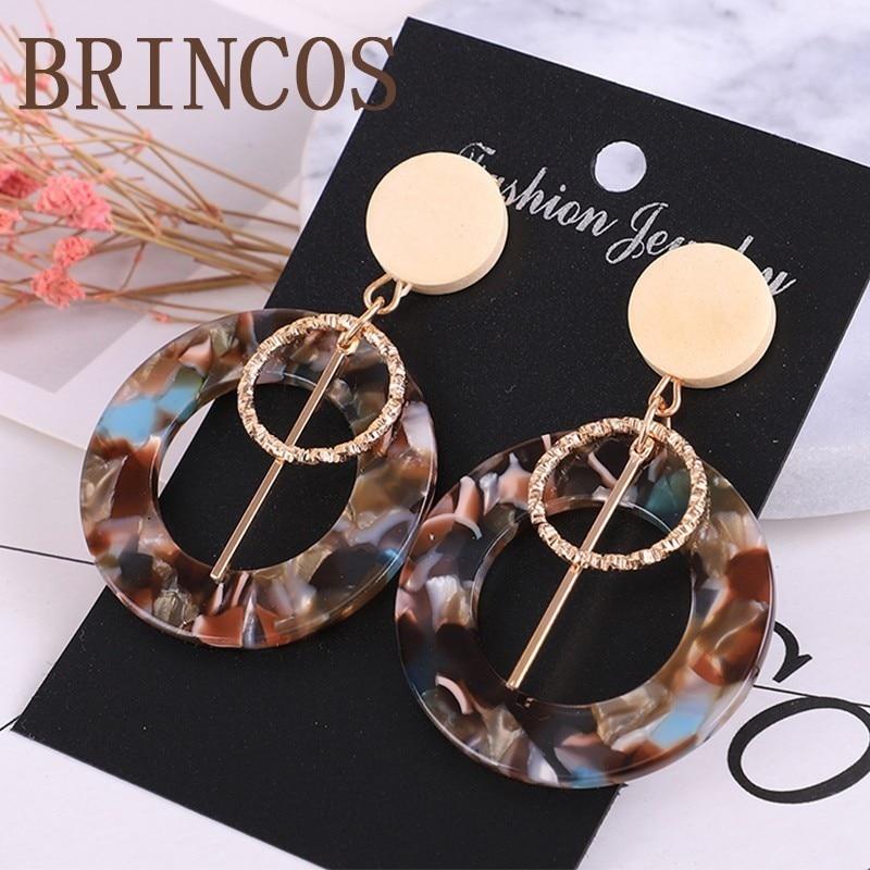 Earrings 2019 Acrylic Women Fashion Leopard Print Luxury Jewelry Bohemian Long Pendant Acetate Ms. Gifts Geometry Statement Cc