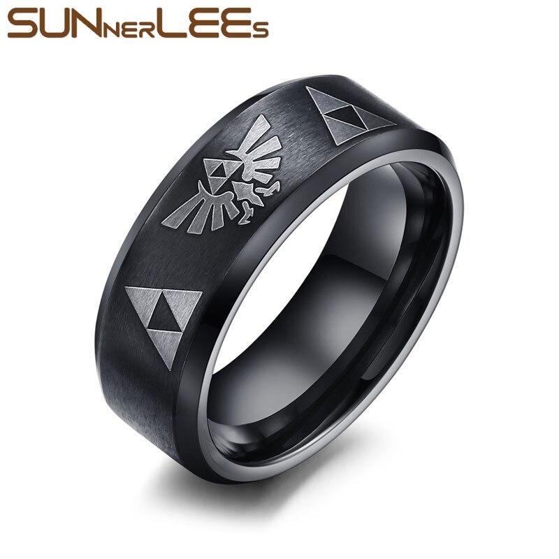 SUNNERLEES Fashion Jewelry Titanium Stainless Steel Rings Silver Gold Black Rose The Legend Of Zelda Game Ring Women Men R-004B