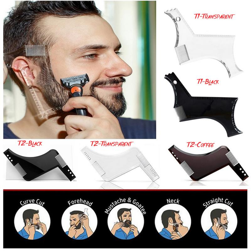 1pc Men Beard Shaping Styling Template Comb Men Beards Combs Beauty Tool Suitable For Professional Or Home Use