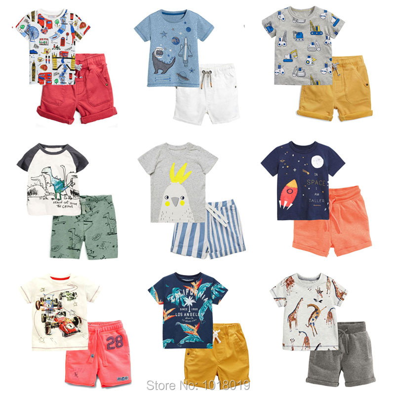 New 2019 Brand 100% Cotton Summer Baby Boys Clothes Set 2pcs Children Clothing Suit Bebe Kids Short Sleeve Clothes Set Baby Boys(China)